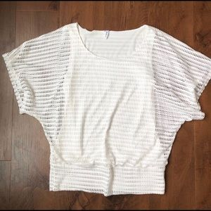 Studio Y Women's White Open Weave Butterfly Top